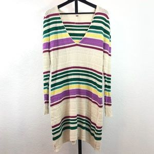 NWT-Free People Ribbed Colorful Striped Dress-M